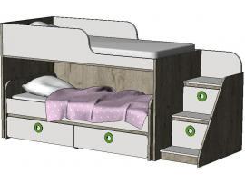 Кровать-чердак с выкатной кроватью MBR2Q MINI PRINT изображение 1