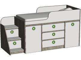 Кровать-чердак с системой хранения MBR3Q Клюква Мини изображение 3