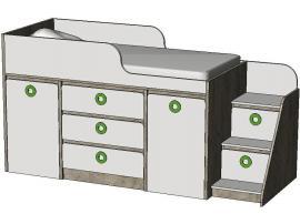 Кровать-чердак с системой хранения MBR3Q MINI PRINT изображение 1