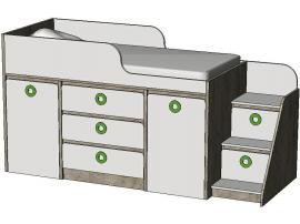 Кровать-чердак с системой хранения MBR3Q Клюква Мини изображение 1