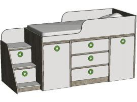 Кровать-чердак с системой хранения MBR3Q MINI PRINT изображение 2