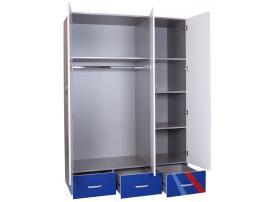Шкаф 3-х дверный La-Man (синяя) изображение 2