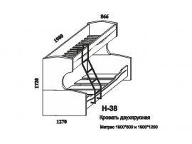 Кровать двухъярусная Н-38 Наутилус изображение 4