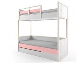 Кровать 2-х ярусная с фальшпанелью НьюТон розовая изображение 1