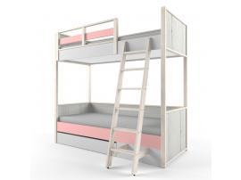 Кровать 2-х ярусная с фальшпанелью НьюТон розовая изображение 2