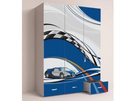 Шкаф 3-х дверный La-Man (синяя) изображение 3