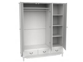 Шкаф 3-х дверный с зеркалом Верден (белый воск) изображение 2