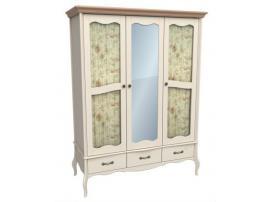 Шкаф 3-х дверный с двумя стеклянными дверями и зеркалом Лебо (бежевый воск/браун) 60734 изображение 1
