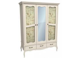 Шкаф 3-х дверный с 2 стеклянными дверями и зеркалом Лебо (бежевый воск) 55734 изображение 1
