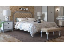 Кровать София белый лак/серый лак с мягкой спинкой изображение 12