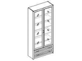 Шкаф для книг 2-х дверный с 2 ящиками. 20.046