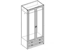 Шкаф для одежды 2-х дверный с 2 ящиками. 20.020