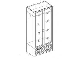 Шкаф для одежды с зеркалом 2-х дверный с 2 ящиками. 20.022