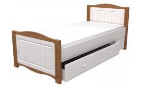 Кровать 90х200 с ящиком выкатным Милано (белый воск/антик)