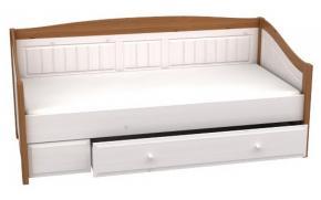Кровать-диван с выкатным ящиком Милано (белый воск/антик)