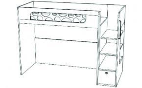Кровать-чердак с ящиком VBR02Q Velvet