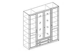 Шкаф для одежды 4-х дверный с 2 ящиками 21.150