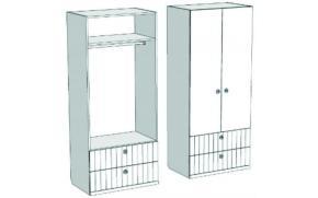 Шкаф 2-х дверный со штангой и 2-мя ящиками VS2-77Q