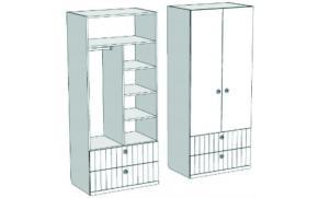 Шкаф 2-х дверный комбинированный с 2-мя ящиками VS3-77Q Velvet