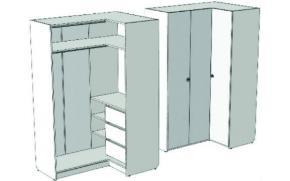 Шкаф-гардероб угловой с 3-мя внутренними ящиками VSU-11Q Velvet