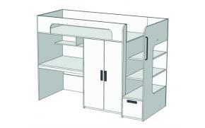 Кровать-чердак с ящиком, компьютерным столом и шкафом Junior BR-06Q