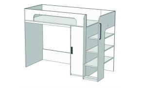 Кровать-чердак с компьютерным столом и пеналом Junior BR-07