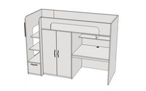 Кровать двухъярусная комбинированная с ящиком Junior+ BR06 L/R