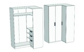 Шкаф-гардероб угловой с 3-мя внутренними ящиками Junior CC-021Q