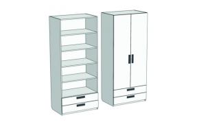 Шкаф 2-х дверный с полками и 2-мя ящиками Junior CL-04, CLH-04 с рисунком