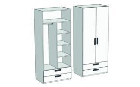 Шкаф 2-х дверный комбинированный с 2-мя ящиками Junior CL-06, CLH-06 с рисунком
