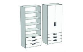 Шкаф 2-х дверный с полками и 3-мя ящиками Junior CL-07, CLH-07