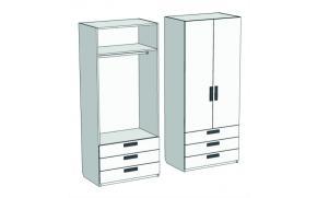 Шкаф 2-х дверный со штангой и 3-мя ящиками Junior CL-08, CLH-08