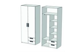 Шкаф 2-х дверный комбинированный с 2-мя ящиками Junior CL-11, CLH-11 с рисунком