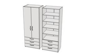 Шкаф с 3-мя ящиками и полками Teenager CL07, CLH07