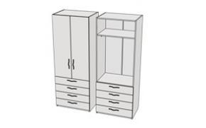 Шкаф с 4-мя ящиками и штангой Teenager CL10
