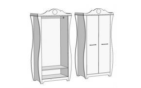 Шкаф 2-х дверный со штангой Classic CS-0270