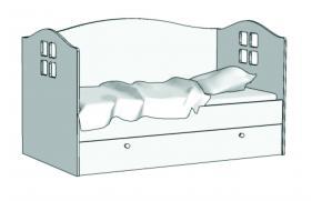 Кровать Домик (с ящиком на шариковых направляющих) KD-16Q с рисунком