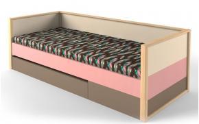 Кровать с фальшпанелью и ящиком Робин Wood розовая