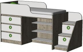 Кровать-чердак с комодом MBR1Q MINI PRINT