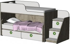 Кровать-чердак с выкатной кроватью MBR2Q Клюква Мини