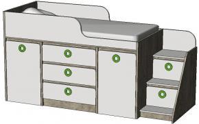 Кровать-чердак с системой хранения MBR3Q MINI PRINT