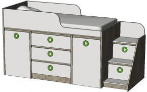 Кровать-чердак с системой хранения MBR3Q Клюква Мини