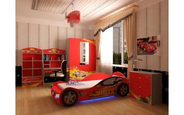 Кровать машина Champion (красная) со светящимися фарами и подсветкой днища изображение 4