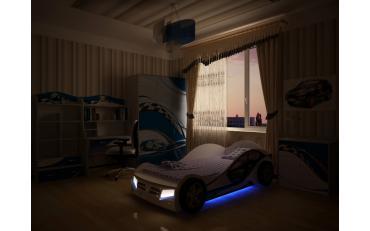 Кровать машина La-Man (синяя) изображение 5