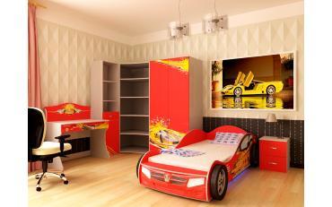 Кровать машина Champion (красная) со светящимися фарами и подсветкой днища изображение 3