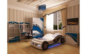 Кровать машина La-Man (синяя) изображение 3
