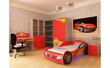 Кровать машина Champion (красная) со светящимися фарами и подсветкой днища изображение 5