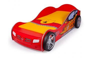 Кровать машина Champion (красная) со светящимися фарами и подсветкой днища изображение 1