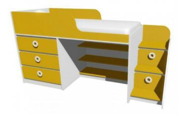 Кровать-чердак с комодом MBR1Q Клюква Мини изображение 1
