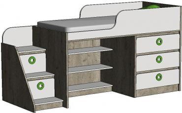Кровать-чердак с комодом MBR1Q Клюква Мини изображение 3